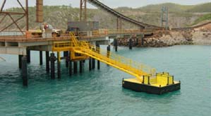 Poly pontoon for offshore walkway - Tide Out