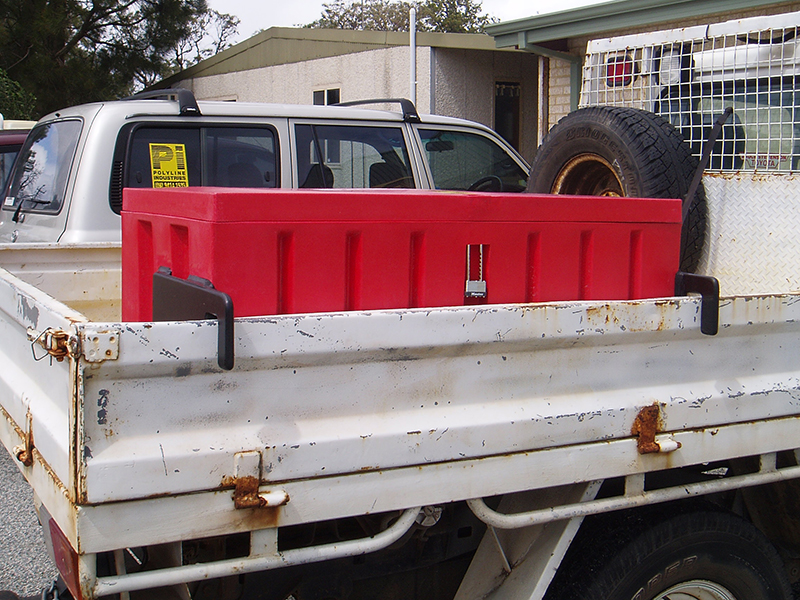 Poly storage box ute handle clamp